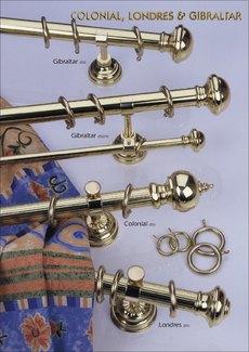 függönykarnis Colonial, Londres és Gibraltár  család 25 és 30 mm-es átmérőjű rúdakkal