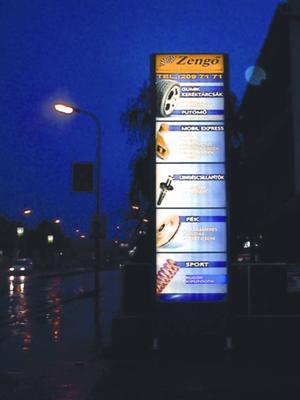 világító reklámdoboz