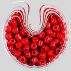 kásagyöngy teli, 4 mm, piros
