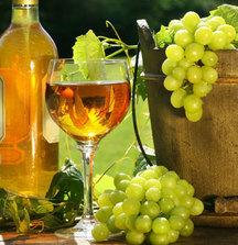 fehér bor és szőlő