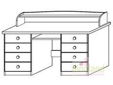 fenyő íróasztal nóra 8-fiókos íróasztal