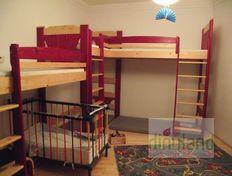 tömörfa gyerekszoba bútor 3 gyereknek - Anna emeletes ágy