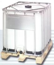 1000 literes NW 150 típusú ibc tartály, fa raklappal