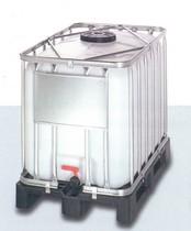600 literes NW 225 típusú ibc tartály, műanyag raklappal